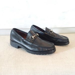Black Leather GUCCI Horsebit Loafers 8.5
